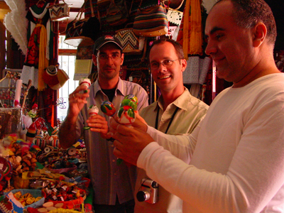 After the Mexican premiere of Pataruco in 2004, Lorenz, conductor Kyle Wiley Pickett, and percussionist Ricardo Gallardo (left to right) relax at a souvenir shop in San Miguel de Allende.