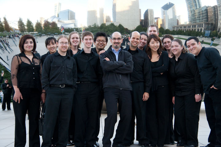 In Chicago with flutist Marisa Olin (4th from left), Director Raphael Jiménez (center with Lorenz), and members of Michigan States Musique 21 before the Mid-Western premiere of Perfiles Sospechosos original version.