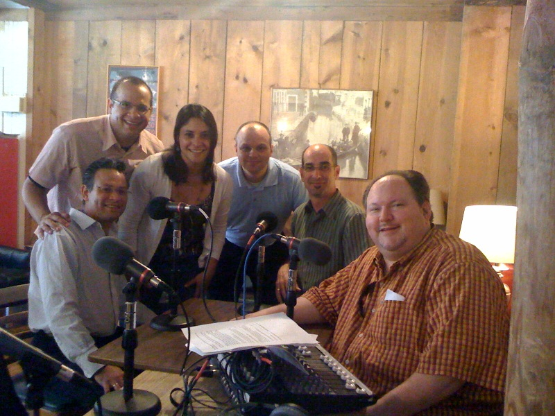 "Right to Left:  ""Live from the Mill"" host Bill Stibor with Lorenz and members of the Dali String Quartet."